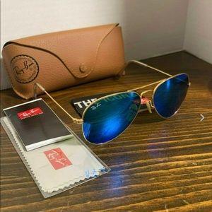 Ray-Ban Sunglasses Aviator Blue Flash Lens 55mm
